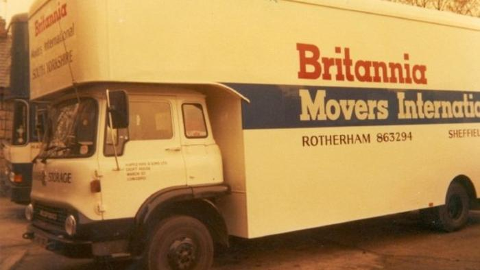 Removal van in Conisbrough depot early 1980's