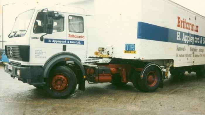 Mercedes artic removal van loaded for France 1993