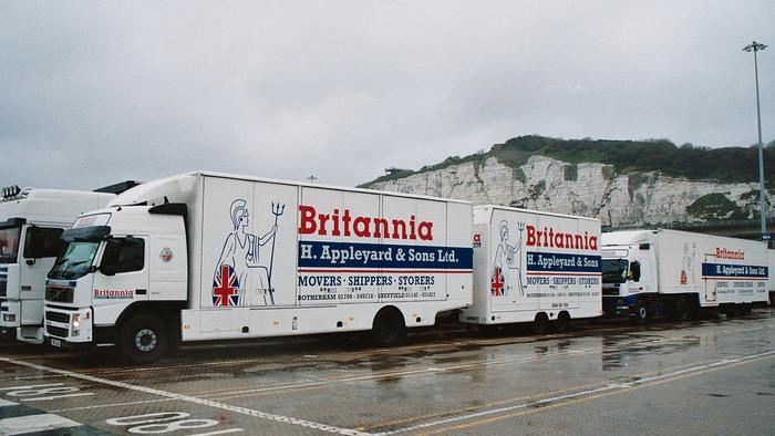 Removal vans leaving UK for Germany