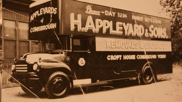 Removal van collected by Harry's father George . Harry went along for the ride aged 6   built in West Yorkshire 1950's