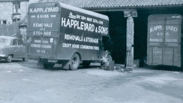 Removal van in Conisbrough depot 1950's