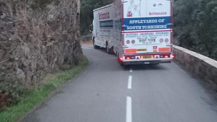 Removal van on a mountain pass